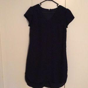 Satin cape sleeves dark navy blue dress/ long top